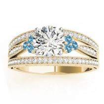 Diamond & Blue Topaz Three Row Split Shank Engagement Ring 18k Yellow Gold (0.42ct)