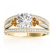 Diamond & Citrine Three Row Engagement Ring 14k Yellow Gold (0.42ct)