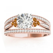 Diamond & Citrine Three Row Engagement Ring 18k Rose Gold (0.42)