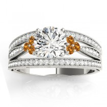 Diamond & Citrine Three Row Engagement Ring 18k White Gold (0.42ct)