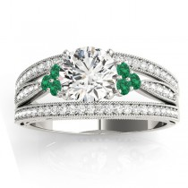 Diamond & Emerald Three Row Engagement Ring 14k White Gold (0.42ct)