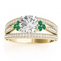 Diamond & Emerald Three Row Split Shank Engagement Ring 14k Yellow Gold (0.42ct)