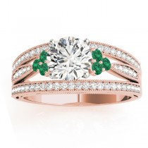 Diamond & Emerald Three Row Engagement Ring 18k Rose Gold (0.42)