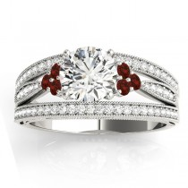 Diamond & Garnet Three Row Split Shank Engagement Ring 14k White Gold(0.42ct)