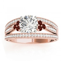 Diamond & Garnet Three Row Engagement Ring 18k Rose Gold (0.42)