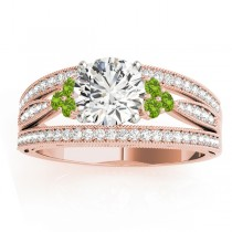 Diamond & Peridot Three Row Engagement Ring 14k Rose Gold (0.42ct)