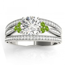Diamond & Peridot Three Row Engagement Ring 14k White Gold (0.42ct)