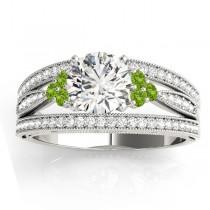 Diamond & Peridot Three Row Split Shank Engagement Ring 14k White Gold(0.42ct)