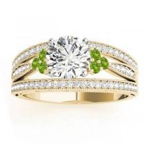 Diamond & Peridot Three Row Split Shank Engagement Ring 14k Yellow Gold (0.42ct)