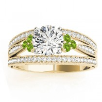 Diamond & Peridot Three Row Engagement Ring 18k Yellow Gold (0.42ct)