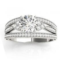 Diamond Three Row Split Shank Engagement Ring Setting Palladium (0.42ct)