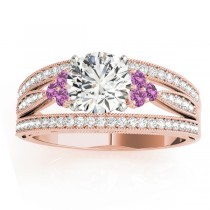 Diamond & Pink Sapphire Three Row Engagement Ring 18k Rose Gold (0.42)