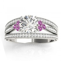 Diamond & Pink Sapphire Three Row Split Shank Engagement Ring 18k White Gold (0.42ct)