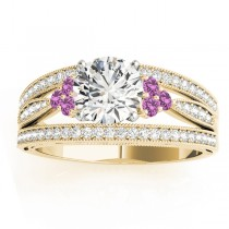 Diamond & Pink Sapphire Three Row Engagement Ring 18k Yellow Gold (0.42ct)