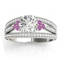 Diamond & Pink Sapphire Three Row Engagement Ring Setting (0.42ct)