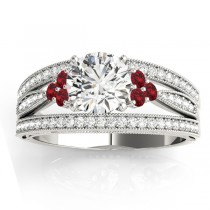 Diamond & Ruby Three Row Engagement Ring 14k White Gold (0.42ct)