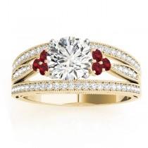 Diamond & Ruby Three Row Split Shank Engagement Ring 14k Yellow Gold (0.42ct)