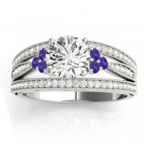 Diamond & Tanzanite Three Row Split Shank Engagement Ring 14k White Gold(0.42ct)