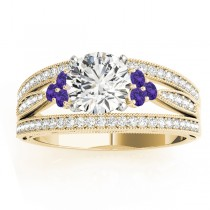 Diamond & Tanzanite Three Row Engagement Ring 14k Yellow Gold (0.42ct)