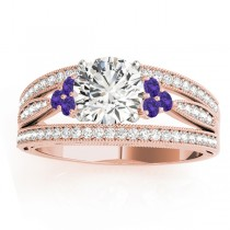 Diamond & Tanzanite Three Row Engagement Ring 18k Rose Gold (0.42)