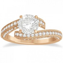 Diamond Bypass & Milgrain Engagement Ring Setting 14k R. Gold 0.50ct