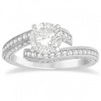Diamond Bypass & Milgrain Engagement Ring Setting 14k W. Gold 0.50ct