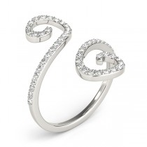 Diamond Swirl Band, Abstract S Shape Ring in 14k White Gold 0.50ct