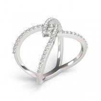 Twisted X Shaped Diamond Ring Band 14k White Gold 0.50ct