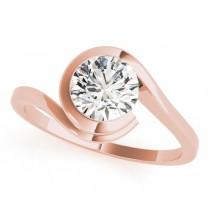 Solitaire Tension Set Diamond Engagement Ring 18k Rose Gold (0.90ct)