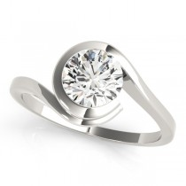 Solitaire Tension Set Diamond Engagement Ring 18k White Gold (0.90ct)