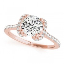 Bow-Inspired Halo Diamond Engagement Ring 18k Rose Gold (1.33ct)