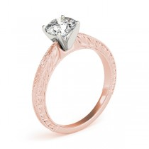Floral Solitaire Engagement Ring 14k Rose Gold