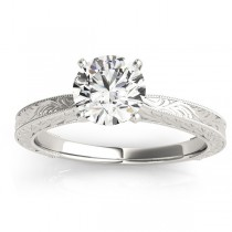 Floral Solitaire Engagement Ring 14k White Gold