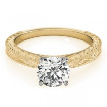 Floral Solitaire Engagement Ring 14k Yellow Gold
