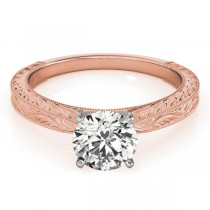 Floral Solitaire Engagement Ring 18k Rose Gold
