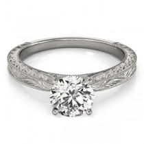 Floral Solitaire Engagement Ring Palladium