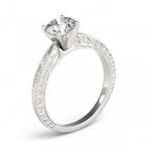 Floral Solitaire Engagement Ring Platinum