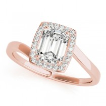 Emerald Bypass Halo Diamond Engagement Ring 14k Rose Gold (1.13ct)