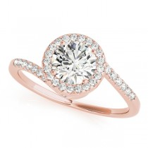 Brilliant Round Bypass Diamond Engagement Ring 14k Rose Gold (0.70ct)