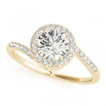 Brilliant Round Bypass Diamond Engagement Ring 14k Yellow Gold (0.70ct)