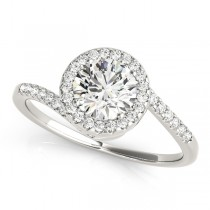 Brilliant Round Bypass Diamond Engagement Ring 18k White Gold (0.70ct)