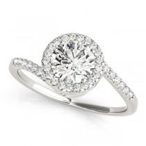 Brilliant Round Bypass Diamond Engagement Ring 18k White Gold (0.70ct)
