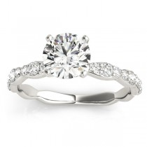 Solitaire Contoured Shank Diamond Engagement Ring 14k White Gold (0.33ct)