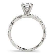 Solitaire Contoured Shank Diamond Engagement Ring 18k White Gold (0.33ct)