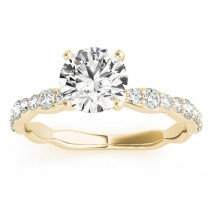 Diamond Accented Engagement Ring Setting in 18k Yellow Gold (0.33ct)