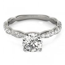Solitaire Contoured Shank Diamond Engagement Ring Palladium (0.33ct)