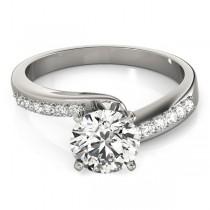 Diamond Pave Swirl Engagement Ring Setting 14k White Gold (0.10ct)