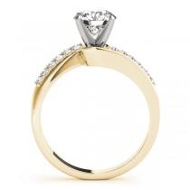 Diamond Pave Swirl Engagement Ring Setting 14k Yellow Gold (0.10ct)