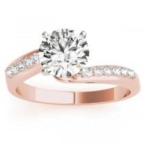 Diamond Pave Swirl Engagement Ring Setting 18k Rose Gold (0.10ct)