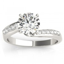 Diamond Pave Swirl Engagement Ring Setting Platinum (0.10ct)